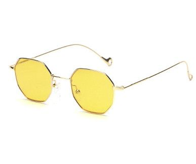Yellow Red Tinted Lens Sunglasses Women Small Retro Luxury Round Frame Polygon 2017 Brand Design Vintage Sun Glasses For Men