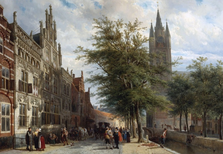 The Gemeenlandshuis and the Old Church, Delft, Summer 1877 Cornelis Springer
