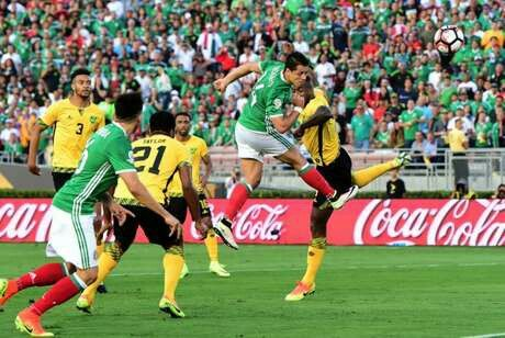 Mexico 2 Jamaica 0 in 2016 in Pasadena. Javier Hernandez heads a goal for Mexico after 14 minutes in Group C at Copa America.