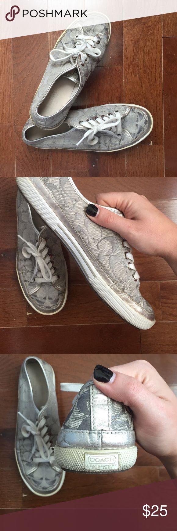 """Coach silver tennis shoes Coach """"Edith"""" metallic silver tennis shoes. Gently used! Coach Shoes Sneakers"""