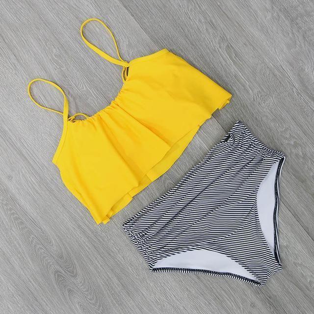 2017 Bikinis Women Swimwear High Waist Swimsuit Halter Sexy Bikini Set Retro Bathing Suits Plus Size Swimwear XXL #plussizeswimwear
