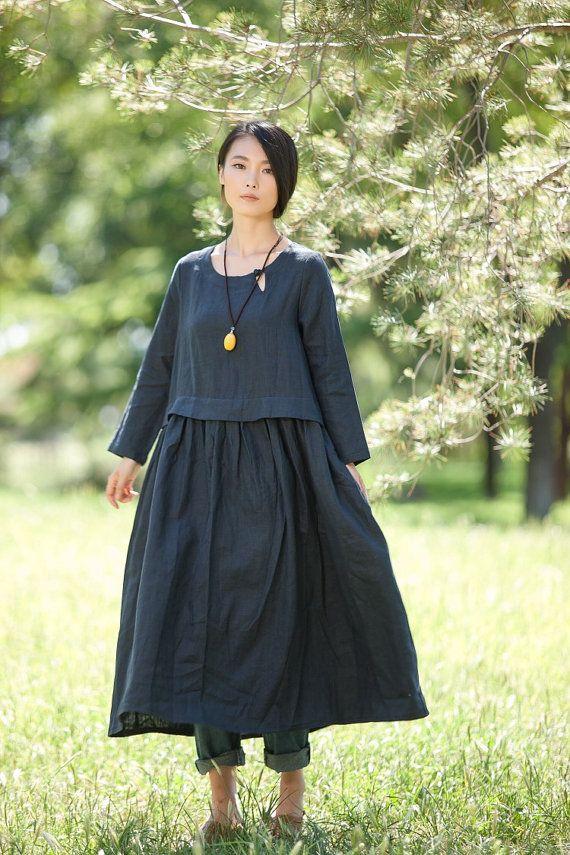 Rund cou lâche raccord Long Maxi robe - robe en bleu marine-(LYQ 612) Long à manches robe de lin pour les femmes