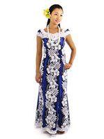 Royal Hawaiian Creations Hibiscus Fern Panel Blue Poly Cotton Hawaiian Nahenahe Ruffle Long Muumuu Dress