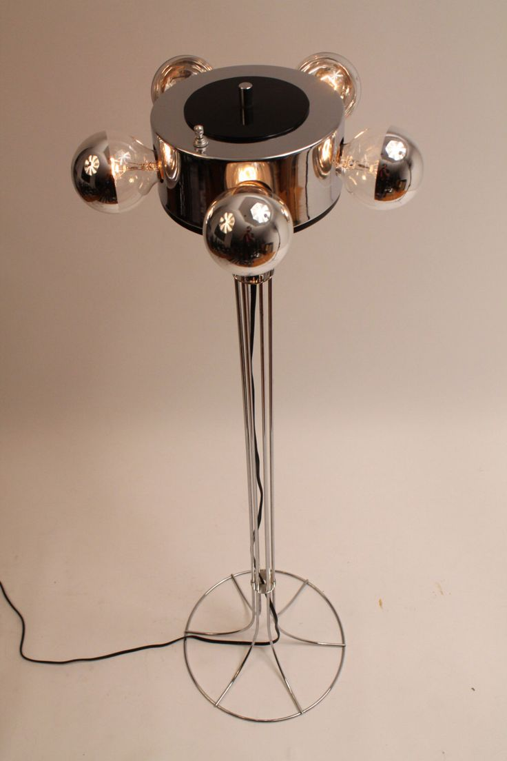 50 in. 70s CHROMED UFO ATOMIC retro floor lamp mid century vintage era by VINTAGELAMPDEN on Etsy https://www.etsy.com/listing/250127710/50-in-70s-chromed-ufo-atomic-retro-floor