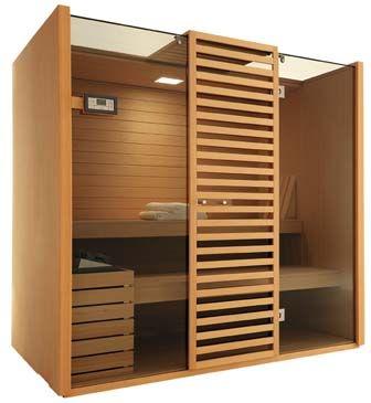 Sky Techno sauna in wood and glass by Effegibi, 39-0547-372881; effegibi.it.