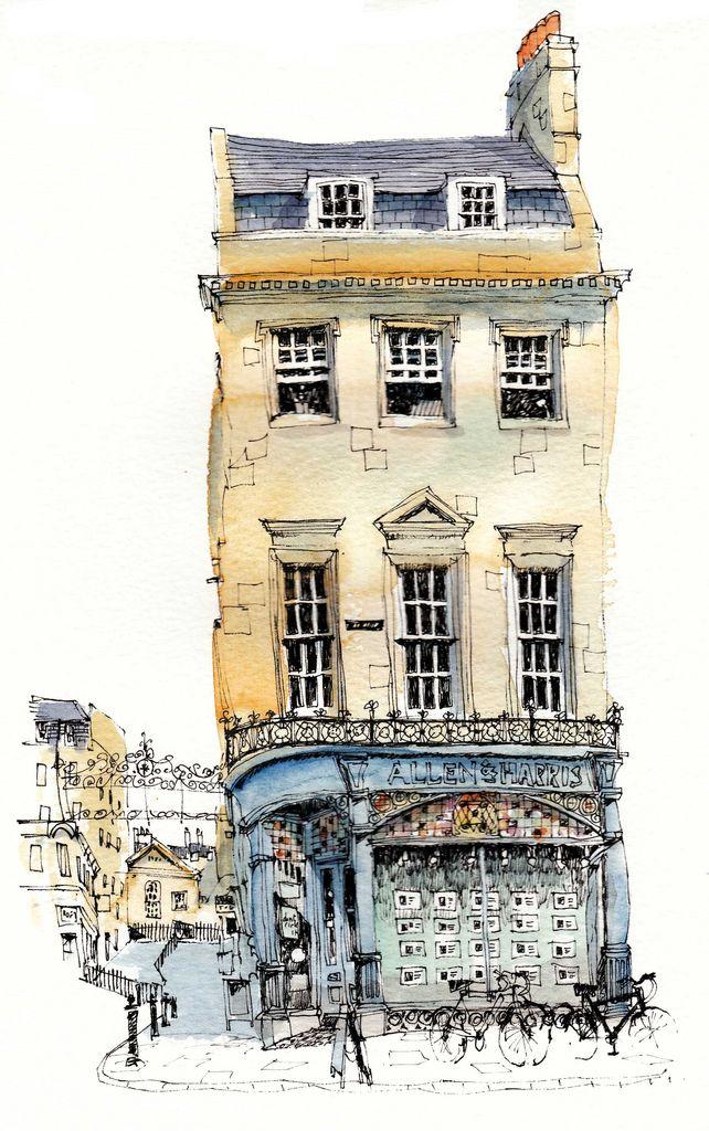 George Street, Bath by wanstrow   #urban  #sketch  #watercolor