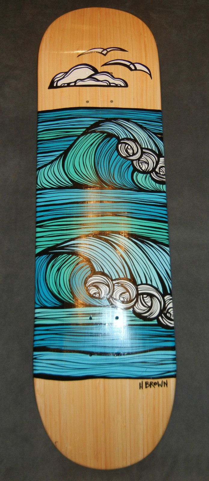 heather brown original painting on bamboo skateboard - Skateboard Design Ideas