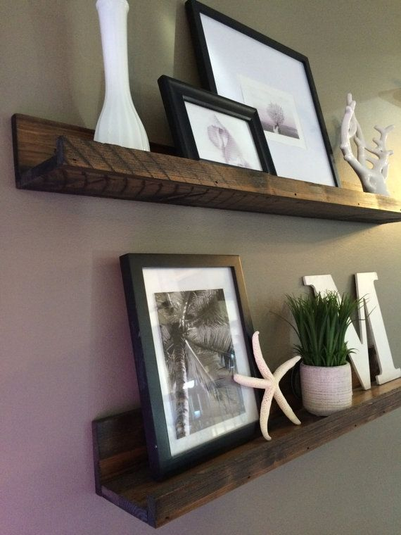 Hanging in my living room - love the rustic look!  Shelf, Rustic Wooden Picture Ledge shelf