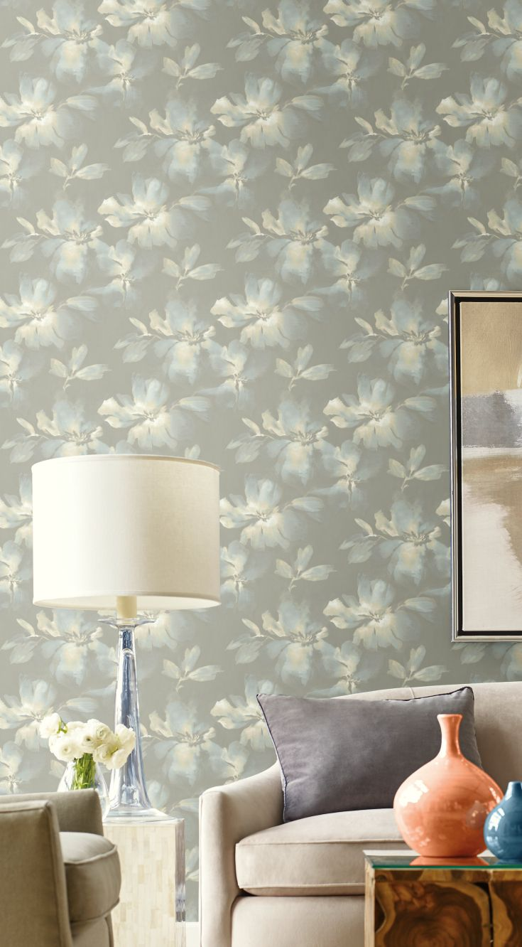 Midnight Blooms A Modern Floral Wallpaper In Soft Painterly