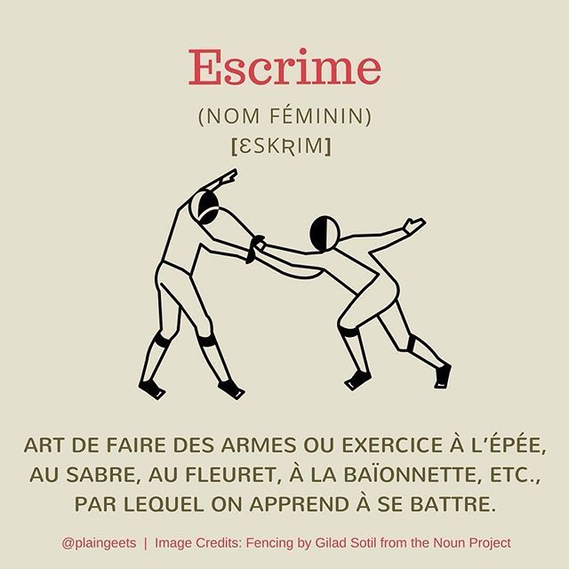 English Translation: Fencing / Pronounced: [ɛskʀim] Fencing was first introduced in the 1896 Olympic Games in Athens. Women's fencing was included later, at the Paris Games in 1924.  #FLE #Français #French #FrenchIsFun #FrenchVocabulary #Vocabulary #Vocabulaire #VocabulaireFrançais  #Olympics #Olympics2016 #JeuxOlympiques #JeuxOlympiques2016 #JO2016 #Jeux #Games #Sports #Sportif #Sportsman #Sportsmanship #Swords #Swordmanship #Epée #Rio2016 #RioOlympics #RioOlympics2016