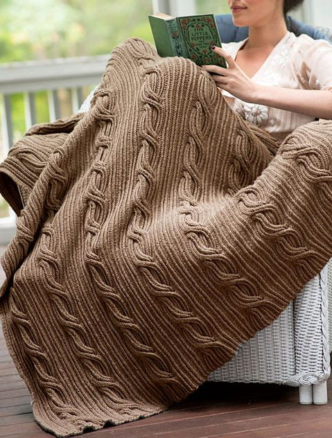 """Free Knitting Pattern for Schuyler Afghan - This throw from Berroco features asymmetric cables on a twisted rib background. Approximately 42"""" wide x 60"""" long."""