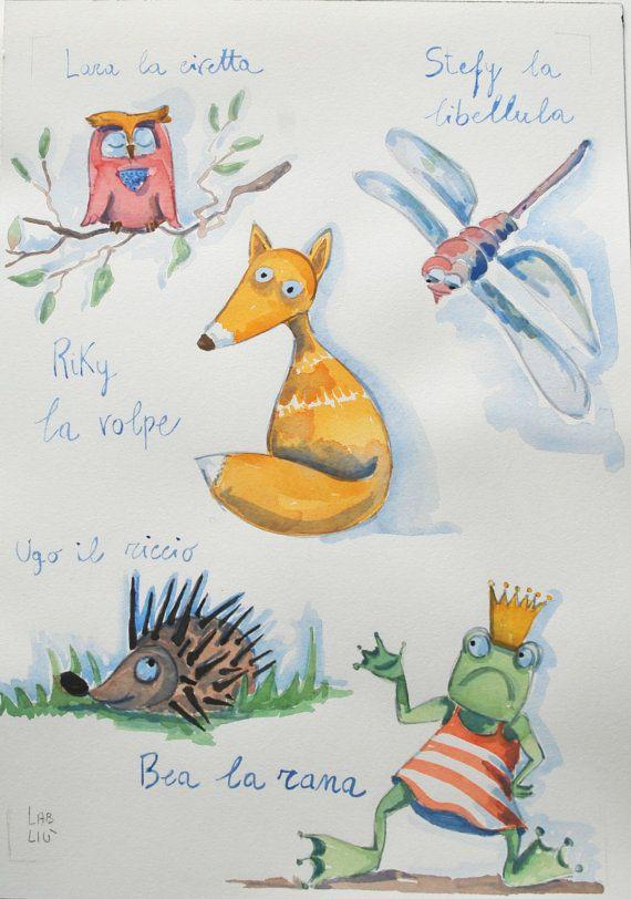 """Illustrazione ad acquarello """"Gli animali del bosco"""" di LabLiu su Etsy"""