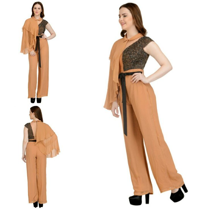 A relaxed jumpsuit featuring a draped shoulder and an embroidered bodice. This premium one is now available at a fraction of its original cost. #freealterations #freehomedeliveryandpickups #tryathomebeforeorder #indiandesigner #desidesigner #sougatpaul #soup #jumpsuit #lookgorgeous #feelgood #bewise #rentyourfashion #rentfromftheramp #myotr #OffTheRamp For more details and designs please visit offtheramp.com or call 8447158533.