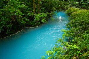 This neon blue river gets its color from a unique mix of bacteria and volcano minerals. Rio Celeste, Guanacaste Province, Costa Rica / Atlas Obscura
