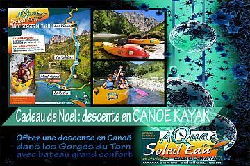 Pour Noël, offrez un bon cadeau pour une location de canoé dans les Gorges du Tarn en Sud Aveyron Lozère Occitanie Avec Aqua Soleil Eau Canoë.  A partir de 14 euros/pers. Essayez nos canoé grand confort avec fauteuil et dossier ou nos sorties canoe nocturne à la découverte de la faune , de la flore et des castors. Canoé Aqua Soleil Eau Mostuéjouls Gorges du Tarn  http://www.canoe-soleileau.com/fr/aquasoleileau/canoe-kayak-vivez-laventure