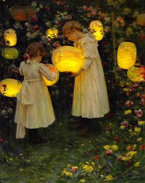 """Japanese lanterns, Luther Emerson van Gorder. American (1861 - 1931).  Reminiscent of Sargent's """"Carnation, Lily, Lily, Rose."""""""