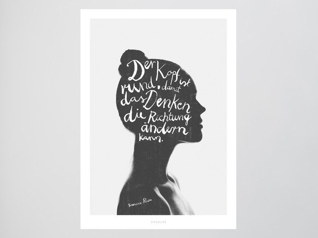 Bild mit Frauenkopf in schwarz-weiß / poser with woman's head in black and white made by typealive via DaWanda.com