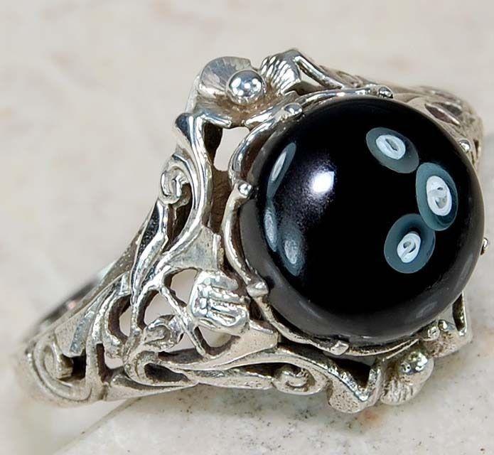 2ct черный оникс серебро 925 из твердого подлинный из чистого серебра стиль арт деко филигрань кольцо размер 7 in Украшения и часы, Модная бижутерия, Кольца | eBay