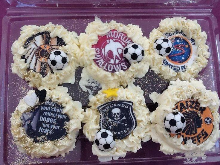 Soccer football cupcakes