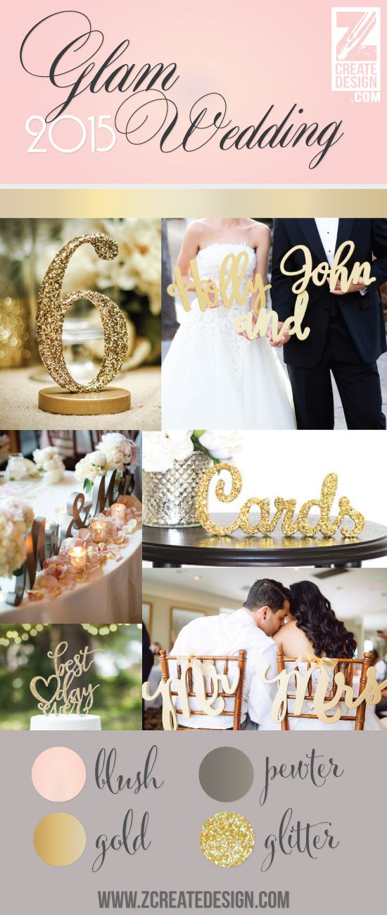gold, glitter and blush wedding ideas - so pretty and romantic! Wedding Decor & Signs   www.ZCreateDesign.com