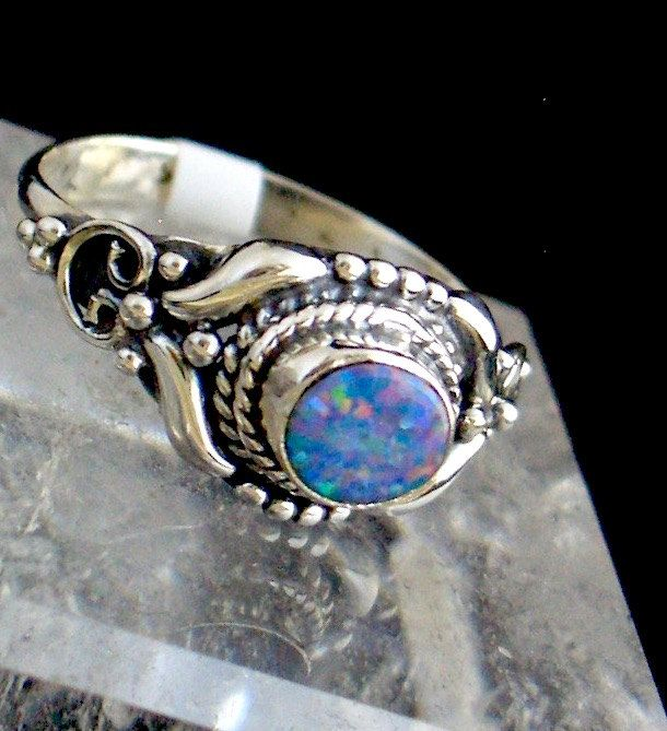 Size 7, Australian Fire Opal Genuine Gemstone 925 Sterling Silver Ring Jewelry s.7 Renaissance Style!! by Ameogem on Etsy