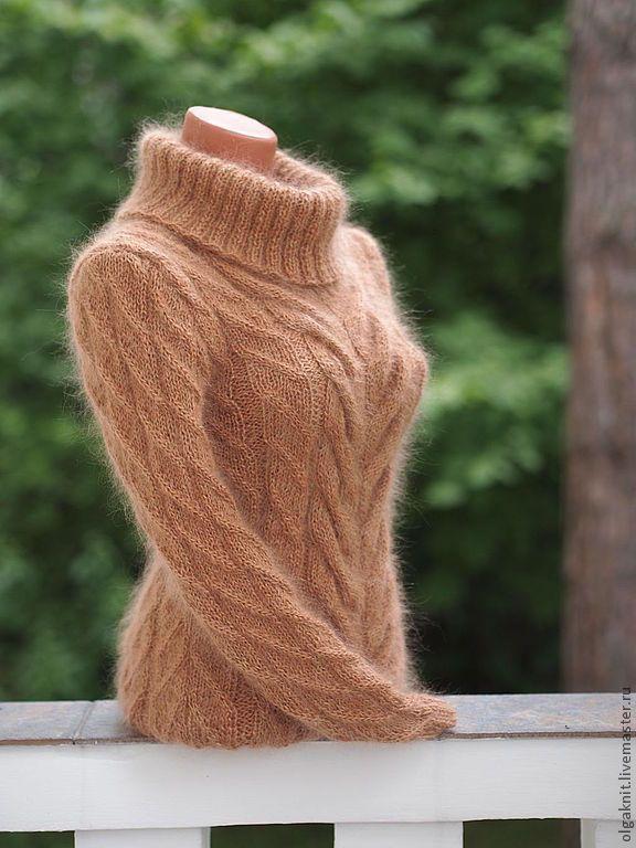 Купить Бежевый мохеровый свитер - бежевый, красивый свитер, теплый свитер, мохер, вязание спицами