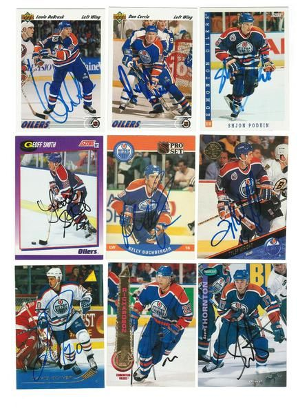 Edmonton Oilers Lot of 9 Autographed Cards. You will receive all cards in the picture. This Lot includes: Scott Thronton, Shjon Podein, Luke Richardson, Louie DeBrusk, Tyler Wright, Geoff Smith, David Oliver, Dan Currie & Kelly Buchberger.