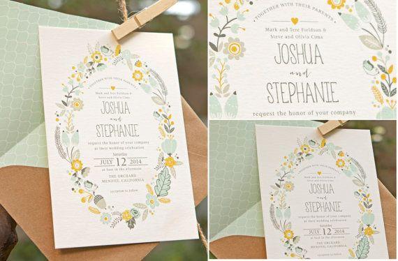 #BOHEMIAN RUSTIC WEDDING Invitations - Floral Wreath - Printable Designs