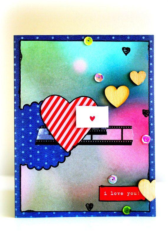 I LOVE YOU Card  OOAK Handmade Card  by byChantalVandenberg, $4.70