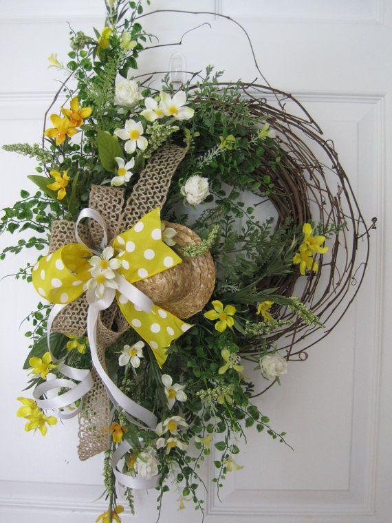 SPRING GARDEN Wreath Summer Wreath Mother's Day Wreath Yellow Wild Flowers Front…