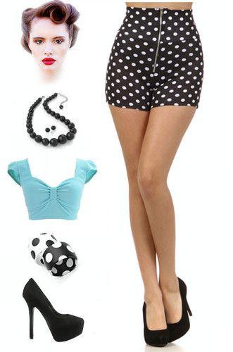 50s Inspired Black White Polka Dot Zipper Front High Waist Pinup Shorts | eBay