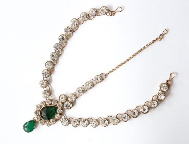 Handmade Emerald Green Kundan Stone Indian Bollywood Matha Patti,Head Chain,Hair Piece,Maang Tikka Grecian Bohemian Style Wedding Bridal by Glittzzandglamour on Etsy