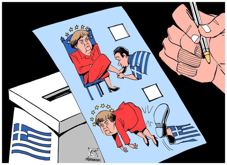 H γελοιογραφία της Telegraph για τις ελληνικές εκλογές: Οι Ελληνες έδωσαν κλωτσιά στην Μέρκελ [εικόνα] | iefimerida.gr