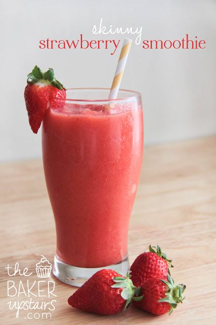 Skinny strawberry smoothie from The Baker Upstairs. Just two ingredients, and so easy and delicious! www.thebakerupstairs.com