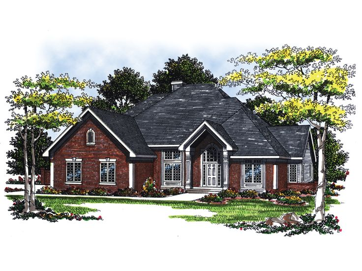 Rogue River Traditional Home Traditional Brick Home With Prominent Gabled Front Entry from houseplansandmore.com
