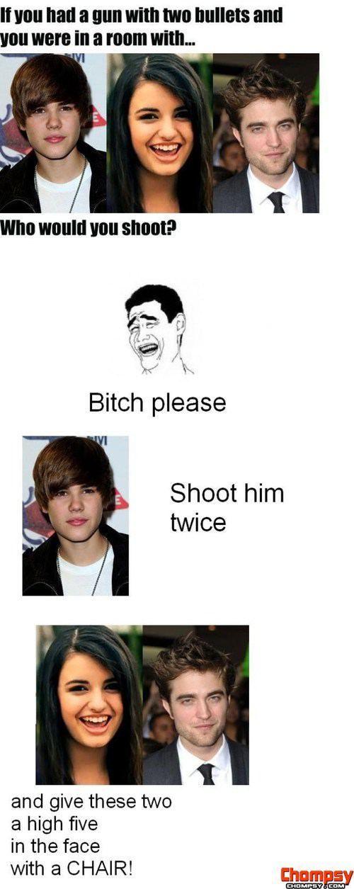 Justin Bieber vs  Rebecca Black vs  Edward Cullen MEME