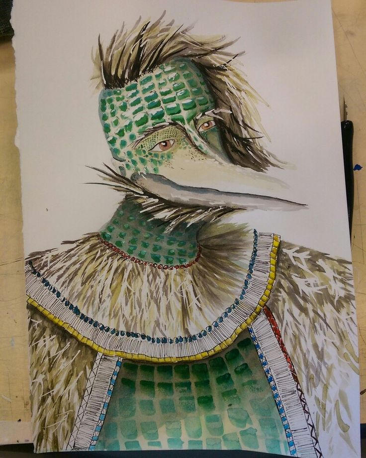 Bird, Snake and Human hybrid // Ink and Masking fluid