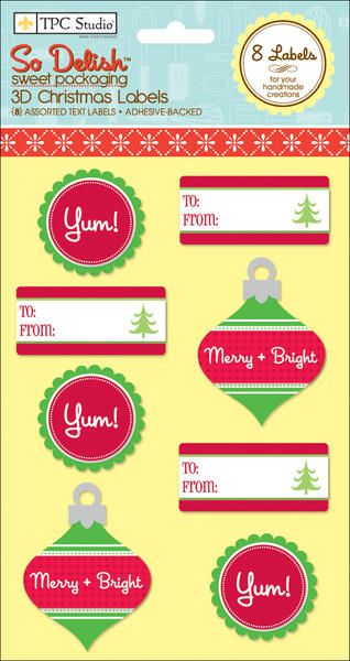 So Delish 3D Labels, 8/Pkg - Christmas - Merry & Bright, Yum, To/From  $2.97