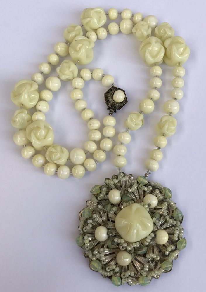 "Vintage Signed Miriam Haskell Cream Swirl Venetian Glass Flower Necklace 29.5"" #MiriamHaskell"