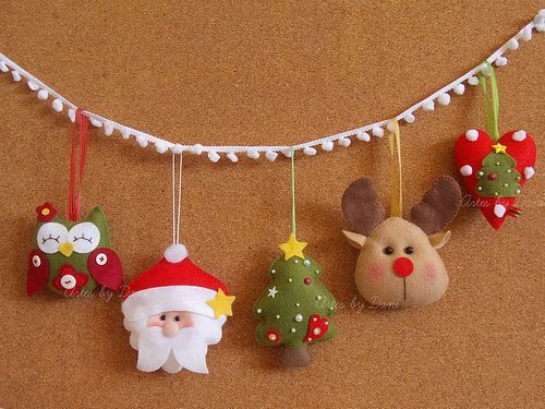 felt christmas santa owl moose  tree  ornament. heart garland