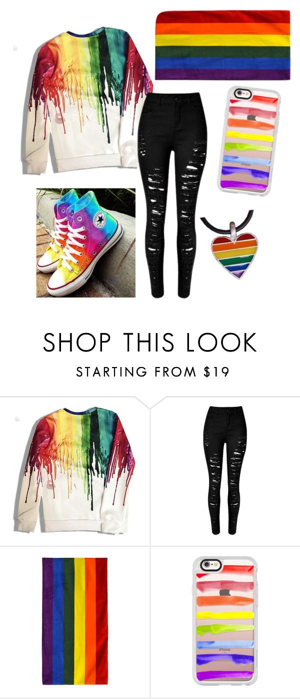 """""""Pride!"""" by the-duchess-of-nerds ❤ liked on Polyvore featuring Converse, Casetify, fab, pride, gaypride, 2fab4u and swog"""