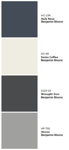 House Color Pallet - Hale Navy (living room 3 walls, stairway, baby room), Swiss Coffee (main color, kitchen, entrance, master bath), Wrought Iron (doors and railing), Storm (master bedroom, spare room, main bath), White non-tinted (trim).