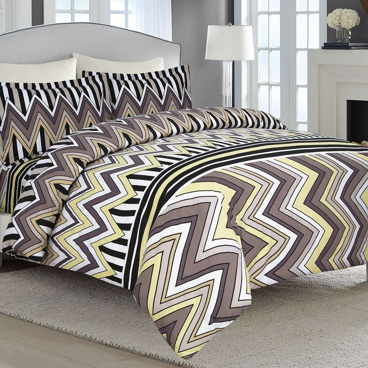Chevron Stripe 3-pc. Flannel Luxury Duvet Cover Set, Brown