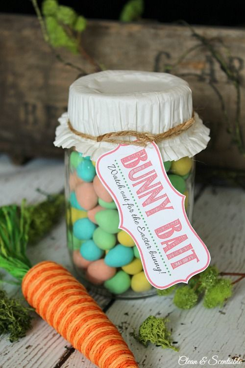 Cute Easter mason jar gift idea and free bunny bait printable. Printable can be used for a treat bag topper as well. // cleanandscentsible.com