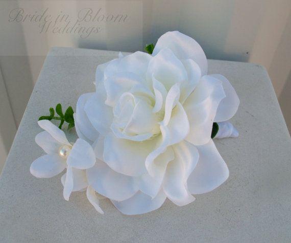 Blanco ramo de gardenia ramo de seda por BrideinBloomWeddings