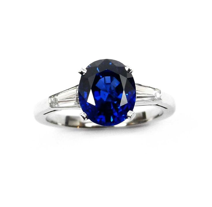 - Single stone sapphire ring, claw set with an oval cut Burma stone 3.087cts