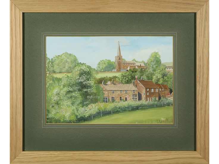 'The Dale, Hathersage, Derbyshire' by J S Oldfield. Original signed & framed gouache.