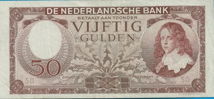 "Currently at the Catawiki auctions: The Netherlands - Banknote 50 Guilders 1945 ""Stadhouder Willem III"" [Stadtholder William III]"