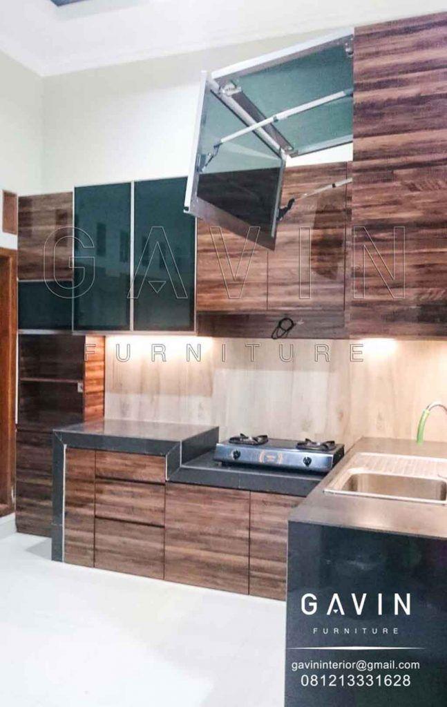 Gambar Kitchen Set Warna Coklat Dengan Double Hidrolik ...