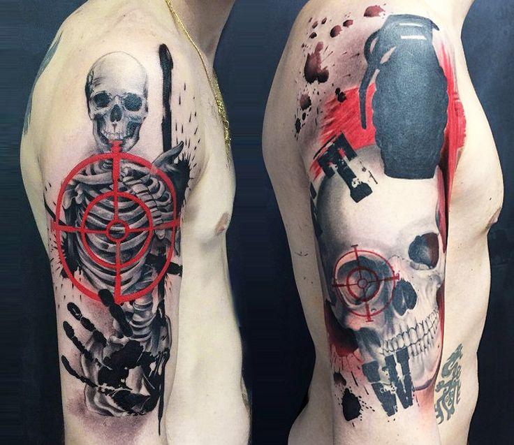 Trash Polka Skull By Mcrdesign On Deviantart: Skull And Skeleton Tattoo By Ivan Trapiani